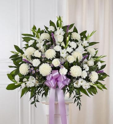 Heartfelt Sympathies - Lavender & White Funeral Flowers