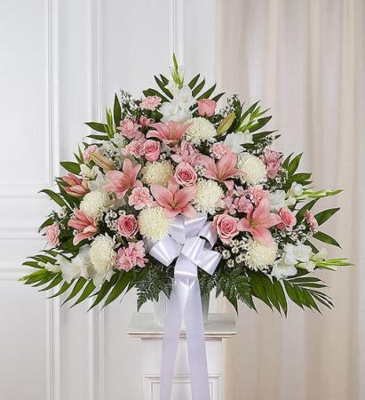 Heartfelt Sympathies - Pink & White Funeral Flowers