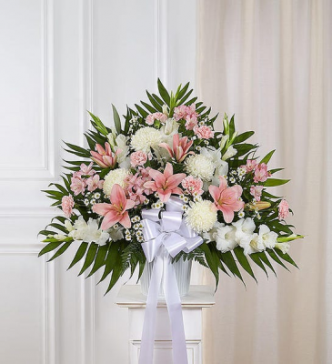 Heartfelt Sympathies- Pink &White PINK AND WHITE FLWERS IN WHITE CONTAINER