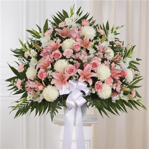 Heartfelt Sympathies Pink & White Standing Basket  in Arlington, TX | Erinn's Creations Florist