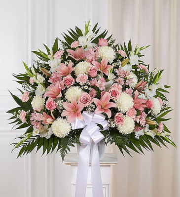 Heartfelt Sympathies Pink & White Standing Basket Sympathy