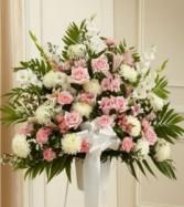 Heartfelt Sympathies Pink & White Standing Basket