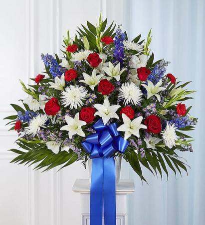 Heartfelt Sympathies - Red, White & Blue Funeral Flowers