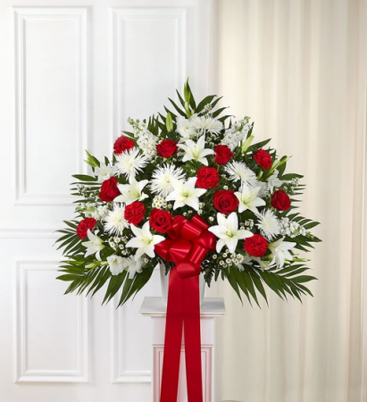 Heartfelt Sympathies - Red & White Funeral Flowers