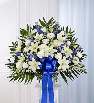 Heartfelt Sympathies™ Standing Basket- Blue & Whit  in Allen, TX | Lovejoy Flower and Gift Shop
