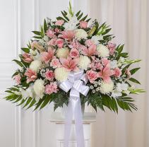 Heartfelt Sympathies™ Standing Basket- Pink & Whit Sympathy Arrangement