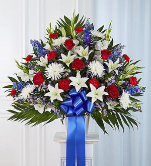 Heartfelt Sympathies™ Standing Basket- Red, White   in Valley City, OH | HILL HAVEN FLORIST & GREENHOUSE
