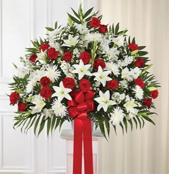 Heartfelt Sympathies Standing Basket- Red & White