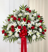 Heartfelt Sympathies™ Standing Basket- Red & White Sympathy Arrangement