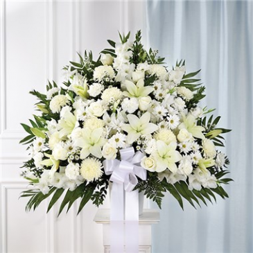 Heartfelt Sympathies White Standing Basket