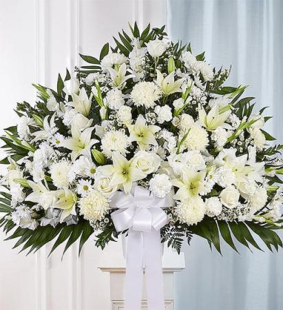 Heartfelt Sympathies White Standing Basket Sympathy