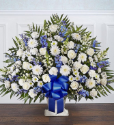 Heartfelt Tribute  Blue & White Floor Basket Arran Sympathy