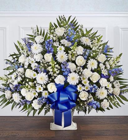 Heartfelt Tribute  Blue & White Floor Basket Arran Sympathy