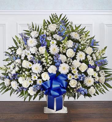 Heartfelt Tribute™ Blue & White Floor Basket Arran sympathy arrangements