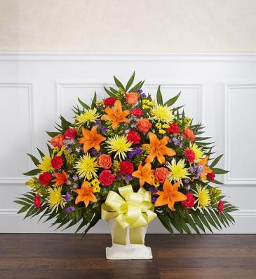 Heartfelt Tribute Bright Floor Basket Arrangement Sympathy