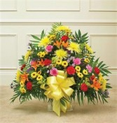 Heartfelt Tribute Floor Basket Arrangement- Bright Funeral
