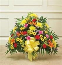 Heartfelt Tribute Floor Basket Arrangement- Bright Funeral