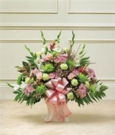 Heartfelt Tribute Floor Basket Arrangement- Pastel Funeral - Sympathy