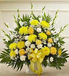 Heartfelt Tribute Floor Basket In Yellow Blooms