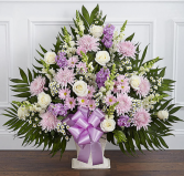 Heartfelt Tribute™ Floor Basket- Lavender & White Sympathy Arrangement