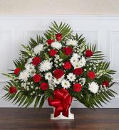 Heartfelt Tribute™ Floor Basket- Red & White Funeral Flowers