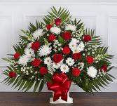 Heartfelt Tribute™ Floor Basket- Red & White Sympathy Arrangement