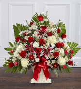 Heartfelt Tribute Red Rose & Lily Floor Basket Ar Sympathy