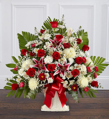 Heartfelt Tribute Red Rose & Lily Floor Basket Ar Sympathy
