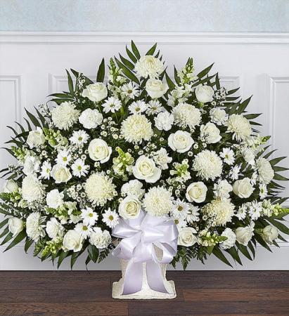 Heartfelt Tribute White Floor Basket Arrangement Sympathy