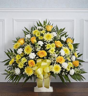 Heartfelt Tribute Yellow Floor Basket Arrangement Sympathy