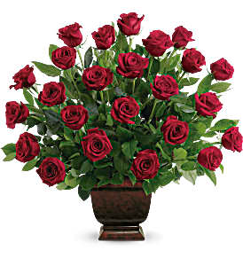 Heartfelt Two Dozen Red Roses Sympathy Arrangement