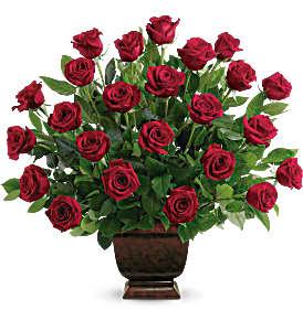 Heartfelt Two Dozen Red Roses Sympathy Arrangement