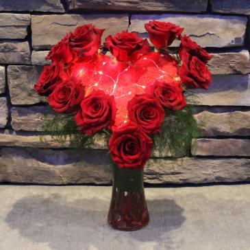 Heartlight Rose Arrangement with Lights