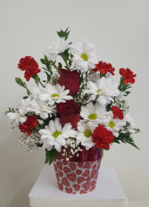 Hearts and Flowers Flower Arrangement
