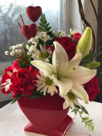 Hearts and Lilies Fresh Arrangement