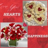 Hearts & Happines fresh flowers & cookies