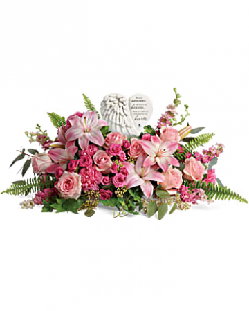 HEARTS HEARTFELT FAREWELL BOUQUET BECAUSE SOMEONE WE LOVE IS IN HEAVEN THERE IS A LITTLE BIT OF HEAVEN IN OUR HEARTS