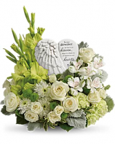 HEARTS IN HEAVEN BOUQUET BECAUSE SOMEONE WE LOVE IS IN HEAVEN THERE IS A LITTLE BIT OF HEAVEN IN OUR HEARTS