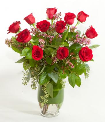 Hearts On Fire Dozen Roses Arrangement