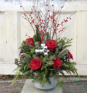 Berry Christmas  vase  in Woburn, MA | HILLSIDE FLORIST INC.