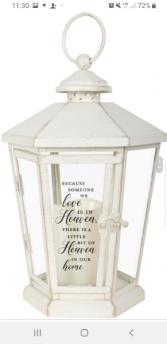 Heaven in our home lantern with candle