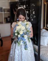 Heavenly blue bouquet  Cascading brides bouquet