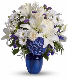 Heavenly Blue Vase Arrangement