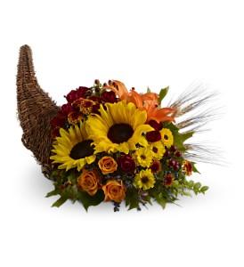 Heavenly Cornucopia          TFWEB451 Fresh Floral Arrangement