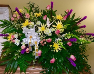 Heavenly Homecoming Yellow, Purple, Pink and White Floral Arrangement in Plainview, TX | Kan Del's Floral, Candles & Gifts