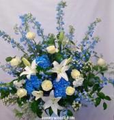 Heavenly Sky blue  Basket Arrangement