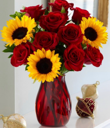 Heavenly Sunrise  Sunflowers and red roses