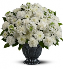 Heavenly thoughts White carnations, mums, etc