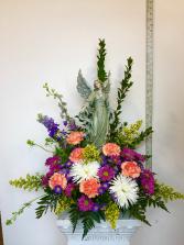 "Heavenly Welcome Angel (14"") in flowers"
