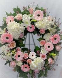 Elegant Pink Garden Wreath Sympathy Wreath
